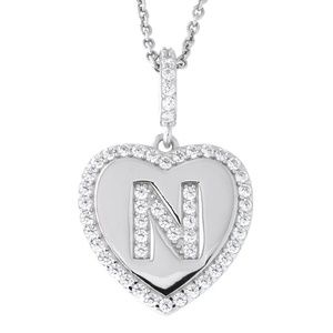 Letter N Initial Heart CZ Pendant Sterling Silver
